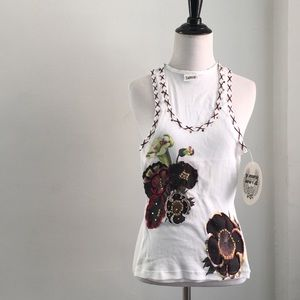 LOVE ❤️ white ribbed floral sparkle print tank top